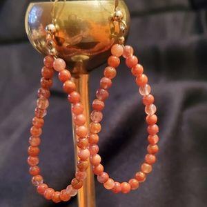 Carnelian Gemstone Bead, silver tone, earrings.
